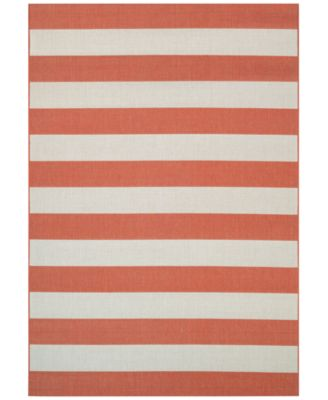 "Couristan Indoor/Outdoor Area Rug, Afuera 5229/8022 Yacht Club Pumpkin-Ivory 5'3"" x 7'6"""