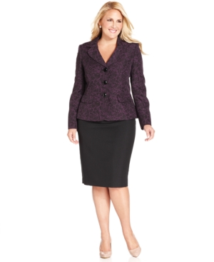 Le Suit Plus Size Printed Blazer Skirt Suit
