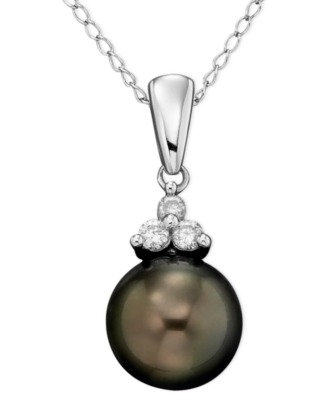 14k White Gold Tahitian Pearl (8 mm) & Diamond Accent Pendant