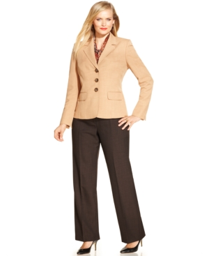 Le Suit Plus Size Three-Button Pantsuit with Scarf