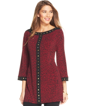 Style & co. Plus Size Printed Studded Tunic