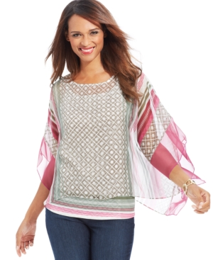 Style & co. Plus Size Batwing-Sleeve Printed Top
