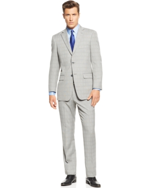 Perry Ellis Portfolio Black and White Glen Plaid Trim-Fit Suit $149.99 AT vintagedancer.com