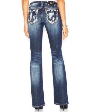 Miss Me Distressed Bootcut Jeans, Dark Blue Wash