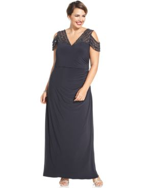 Patra Plus Size Cold-Shoulder Embellished Illusion Gown