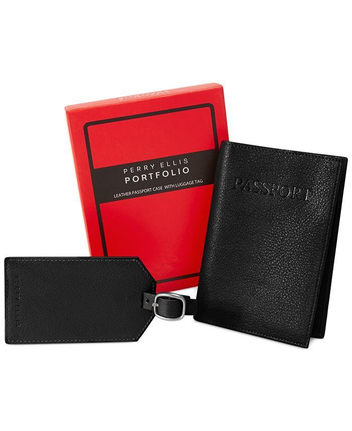 Perry Ellis Portfolio - Men's Passport Case & Luggage Tag
