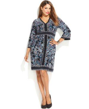INC International Concepts Plus Size Printed Empire-Waist Dress