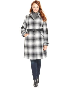 Modamix Plus Size Faux-Leather-Trim Plaid Coat
