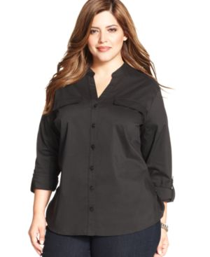 Ny Collection Plus Size Button-Front Mandarin Collar Top