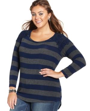 Ing Plus Size Lace-Trim Striped Top
