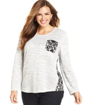 Style & co. Plus Size Lace-Print Top