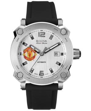 Bulova AccuSwiss Men's Automatic Percheron Black Silicone Rubber Strap Watch 43mm 63B195 - Manchester United Edition