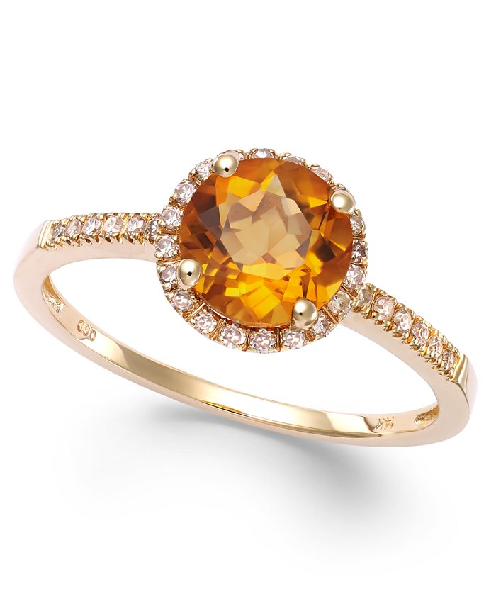 Macy's - Citrine (1-1/5 ct. t.w) and Diamond (1/8 ct. t.w.) Round Ring in 14k Gold