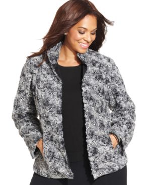 Jm Collection Plus Size Faux-Fur Jacket