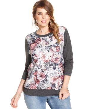Soprano Plus Size Floral-Print Sweatshirt