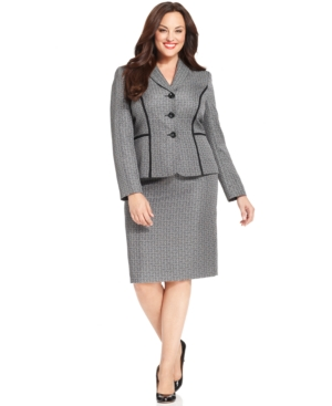 Le Suit Plus Size Three-Button Textured-Tweed Skirt Suit