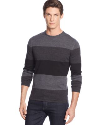Calvin Klein Merino Striped Colorblocked Sweater