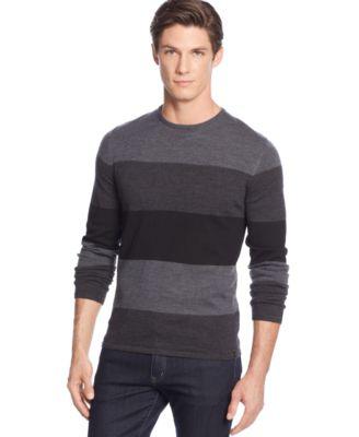 Calvin Klein Merino Striped Colorblocked Sweater
