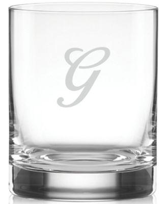 Lenox Tuscany Monogram Barware, Set of 4 Script Letter Double Old Fashioned Glasses