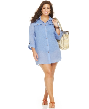 Dotti Plus Size Cover Up, 3/4 Sleeve Shirt Dress Women's Swimsuit