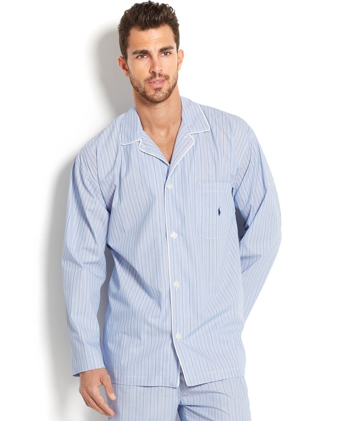 Big and Tall Blue Andrew Stripe Men's Pajama Top