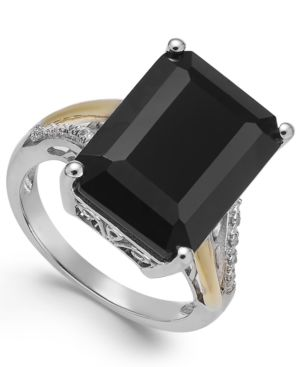 Onyx (10-1/2 ct. t.w.) and Diamond Accent Ring in Sterling Silver and 14k Gold thumbnail