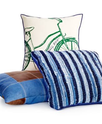 "CLOSEOUT! Tommy Hilfiger 18"" Square Bicycle Decorative Pillow"