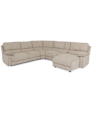 Cody fabric 6 piece chaise sectional sofa with 1 power for Cody fabric 3 piece chaise sectional sofa with 1 power recliner