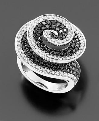 14k White Gold Black & White Diamond Ring (2 ct. t.w.) - Right Hand Rings Diamond - Jewelry & Watches - Macy's