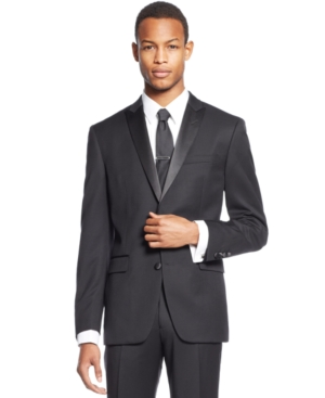 Bar Iii Slim-Fit Black Peak Lapel Tuxedo Jacket $79.99 AT vintagedancer.com