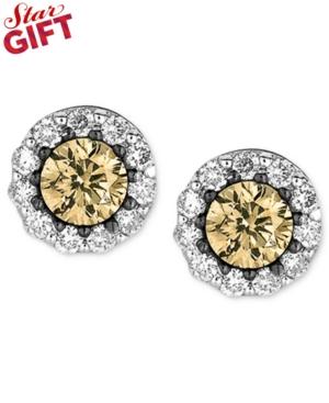 Le Vian Diamond Earrings, 14k White Gold White and Chocolate Diamond Studs (1/2 ct. t.w.)