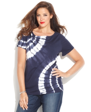 INC International Concepts Plus Size Boat-Neck Tie-Dye Tee