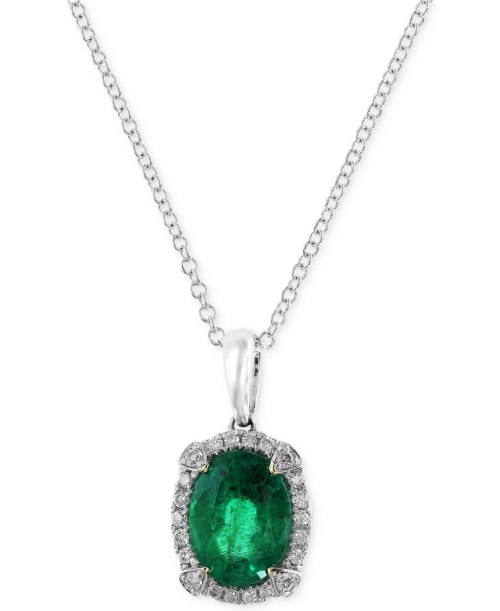 Brasilica by Effy Emerald (1-1/8 ct. t.w.) and Diamond (1/10 ct. t.w.) Pendant Necklace in 14k White Gold