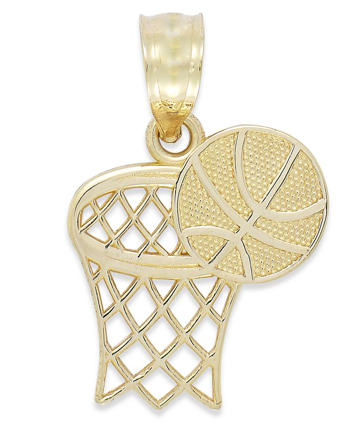 Macy's - Basketball and Hoop Charm in 14k Gold