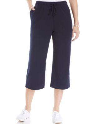 Karen Scott Sport Wide-Leg Cropped Capri Pants
