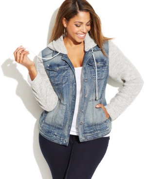 INC International Concepts Plus Size Denim Hoodie Jacket