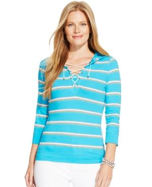 Lauren Ralph Lauren Plus Size Striped Lace-Up Hoodie