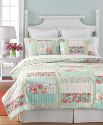 Martha Stewart Collection Aqua & Coral Patchwork Posey Full/Queen Quilt