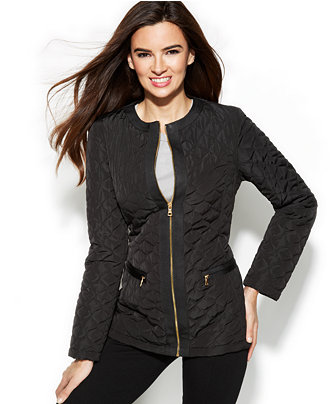 Jones New York Collarless Quilted Jacket With Travel Bag