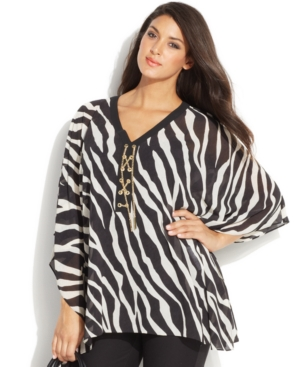 Michael Michael Kors Plus Size Batwing-Sleeve Printed Lace-Up Blouse