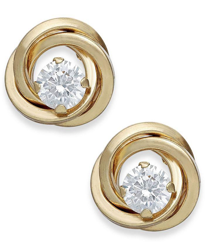Macy's - Cubic Zirconia Love Knot Stud Earrings in 10k Gold
