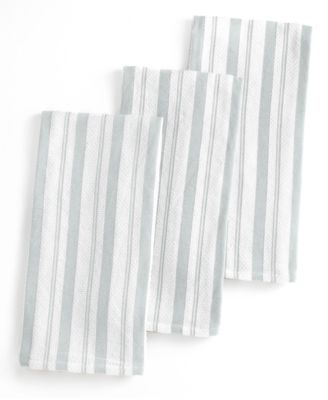 Martha Stewart Collection Set of 3 Basketweave Grey Striped Kitchen Towels