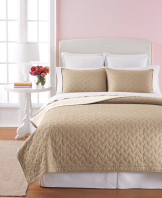 Martha Stewart Collection Basket Stitch King Quilt (Tan)