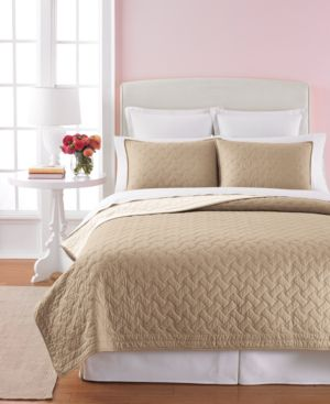 Martha Stewart Collection Basket Stitch King Quilt (Tan) Bedding