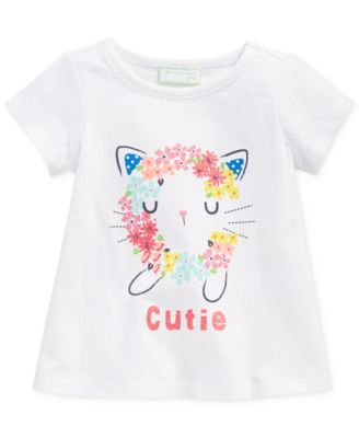 First Impressions Baby Girls' Cutie Cat Tee