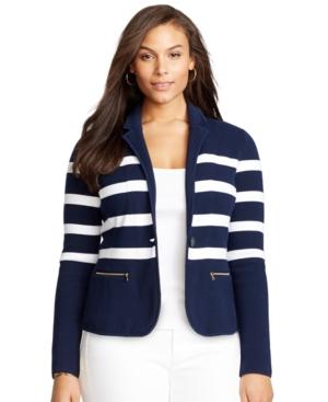 Lauren Ralph Lauren Plus Size Striped Sweater Blazer