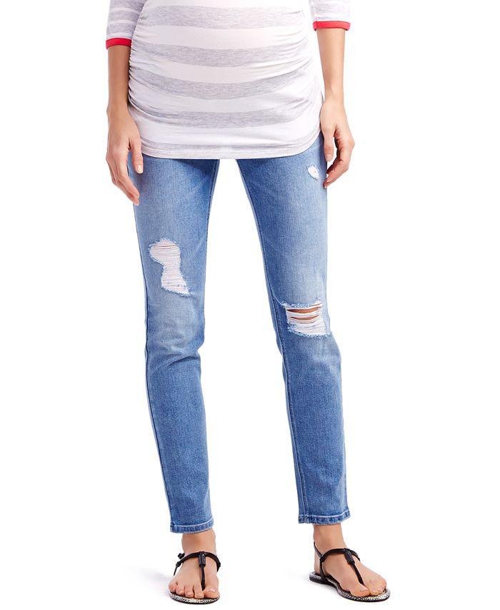 Jessica Simpson - Distressed Maternity Skinny Jeans, Light Wash