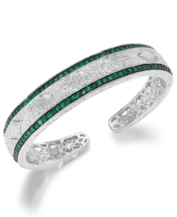 Macy's Emerald (1-1/3 ct. t.w.) and Diamond (1/10 ct. t.w.) Antique Cuff Bracelet in Sterling Silver (Also available in Sapphire and Ruby) & Reviews - Bracelets - Jewelry & Watches - Macy's
