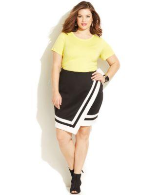 Junarose Plus Size Short-Sleeve Tee & Faux-Wrap Skirt