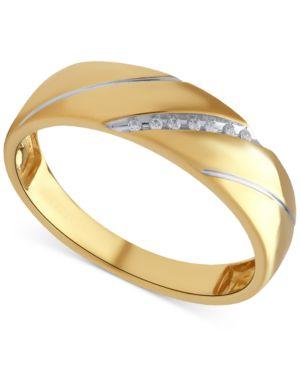 Beautiful Beginnings Men's Diamond Accent Wedding Band in 14K Gold thumbnail